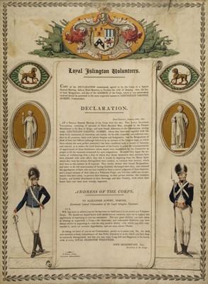 Lot 32-Loyal Islington Volunteers. Declaration, 1801, letterpress broadside