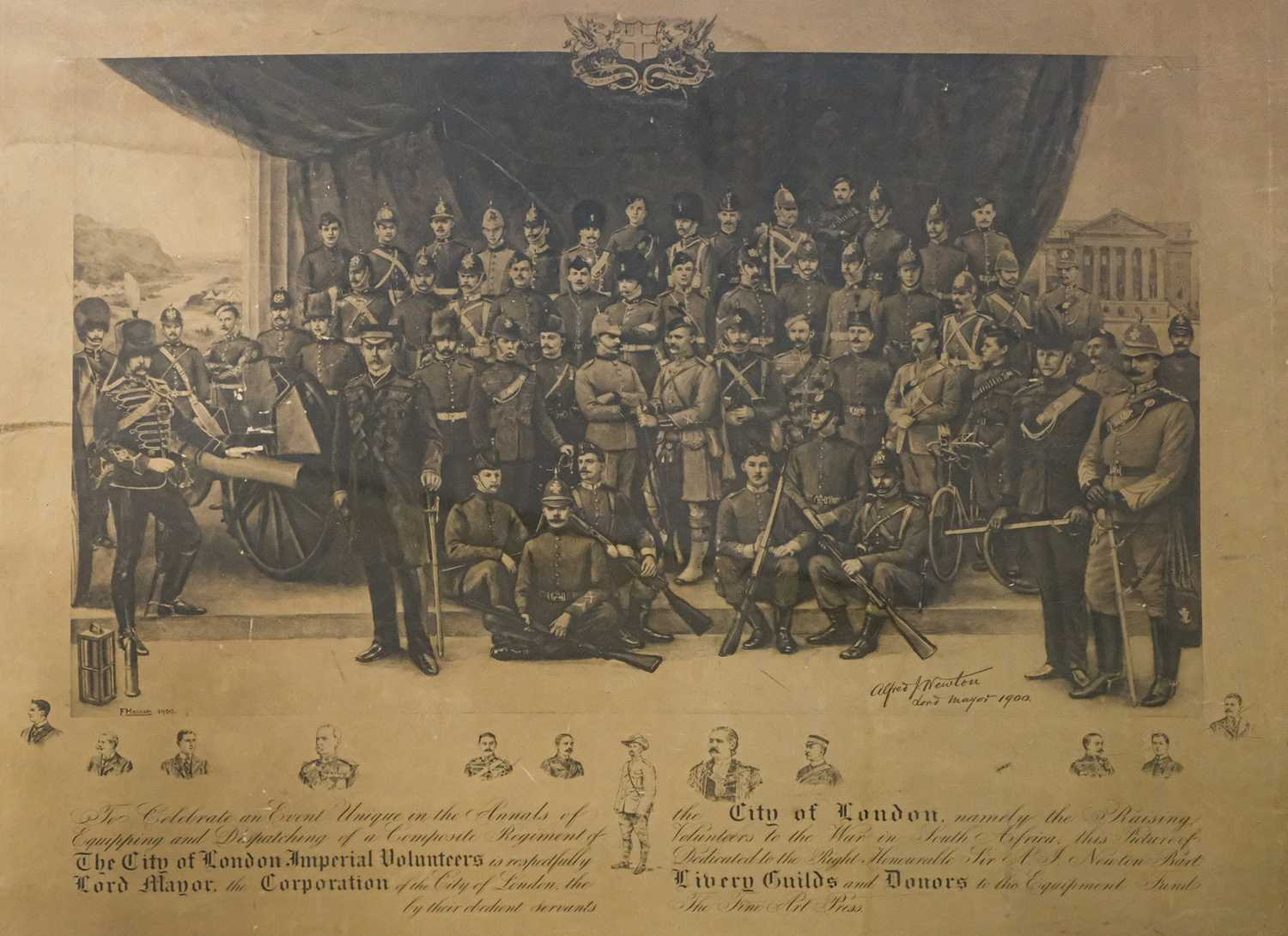 Lot 26 - City of London Imperial Volunteers. Large lithographic print, Fine Art Press, 1900