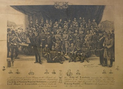 Lot 26-City of London Imperial Volunteers. Large lithographic print, Fine Art Press, 1900