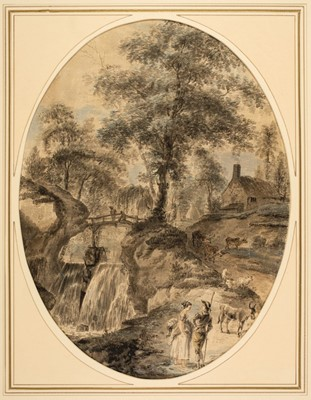 Lot 362-Grimm (Samuel Hieronymus, 1733-1794, style of). Courting couple in a landscape with waterfall