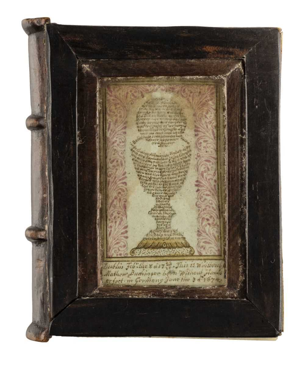 88 - Buchinger (Matthias, 1674-1740). A bookform box with micrography, 1720/21