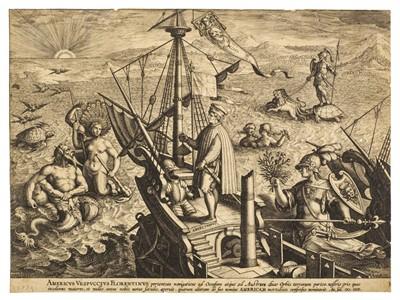 Lot 382-Collaert (Adriaen, circa 1560-1618). Amerigo Vespucci on his ship