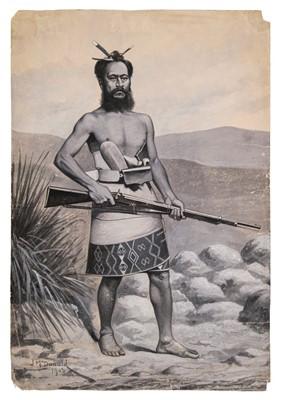 Lot 41 - McDonald (James Ingram, 1865-1956). Maori Warrior, 1903, original watercolour
