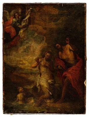 Lot 345-Italian School. Baptism of Christ