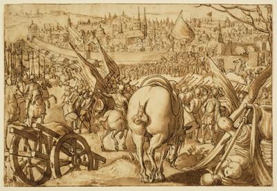 Lot 372-Straet (Jan van der, Johannes Stradanus, 1523-1605). The Capture of Milan