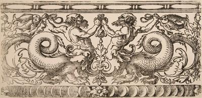 Lot 379-Beham (Hans Sebald, 1500-1550). Frieze with Two Tritons