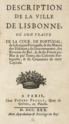Lot 19-Portugal. Description de la ville de Lisbonne, Paris, 1730