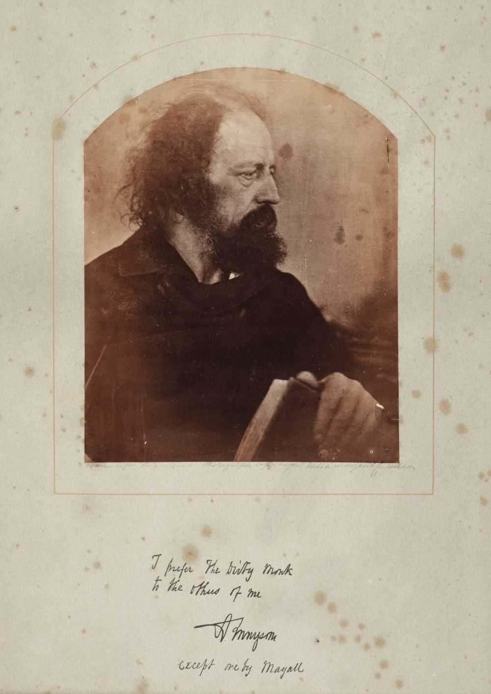Lot 3-Cameron, Julia Margaret, 1815-1879. Alfred Lord Tennyson, 'The Dirty Monk', May 1865