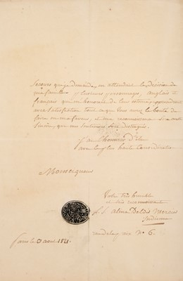 Lot 31 - India. Three letters from foundling Indian princess Alina d'Eldir to Sir Charles Stuart, 1821