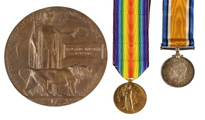 Lot 27-Wiltshire Regiment. A WWI casualty group to Pte R.W. Roberts