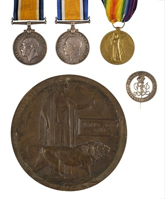 Lot 28-Wiltshire Regiment. Memorial plaque Pte A.W. Twine plus other medals