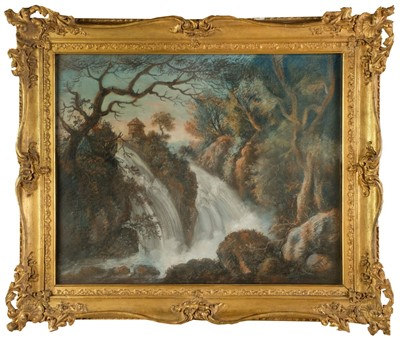 Lot 361-French School. Landscape with Waterfall, later 18th century