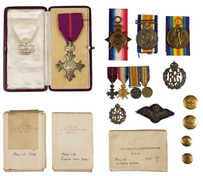 Lot 25-Royal Flying Corps. A WWI MBE group to 2/Lieut C G Hetherington