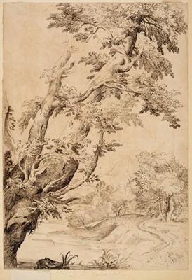 Lot 362-Grimaldi (Giovanni Francesco, 1606-1680). Study of Trees in a River Landscape