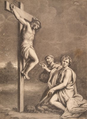 Lot 358-English School. The Crucifixion, early 19th century