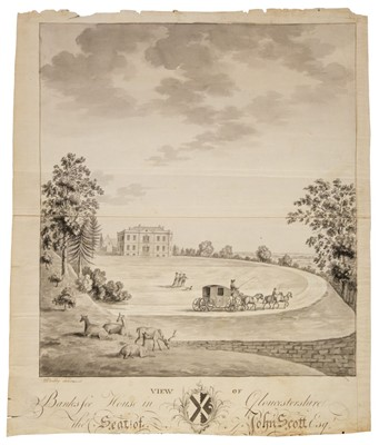 Lot 376-Beilby (William, c.1740-1819). View of Banks Fee House in Gloucestershire the Seat of John Scott