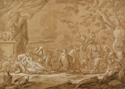 Lot 375-Venetian School. Bacchanalian scene with sleeping Venus, Cupid and Satyr, early 18th century