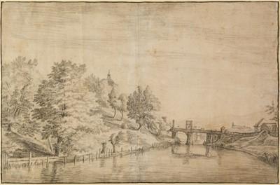 Lot 351-Bemmel (Willem van, 1630-1708). River landscape with bridge & town beyond