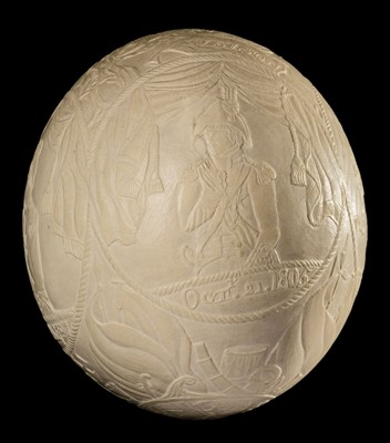 Lot 3-Battle of Trafalgar. An ostrich egg, finely carved in shallow relief, circa 1805