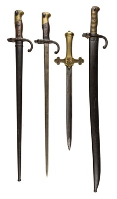 Lot 1-Bayonets. A French chassepot bayonet plus two Gras and Drummer's sword