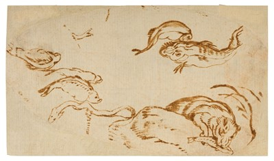 Lot 352-Breughel the Elder (Jan, 1568-1625). Studies of fish, an eel and bear catching a salmon