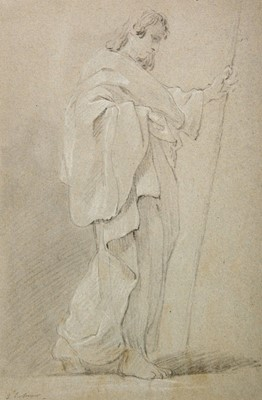 Lot 366-Le Sueur (Eustache, 1617-1655). Robed male holding a staff