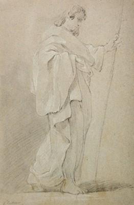 Lot 354-Le Sueur (Eustache, 1617-1655). Robed male holding a staff