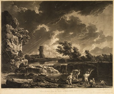 Lot 392-Laurie (Robert) Landscape with storm and fishermen by the river and others