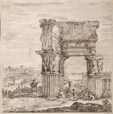 Lot 384-Della Bella (Stefano, 1610-1664). Temple of Concord and Roman Forum
