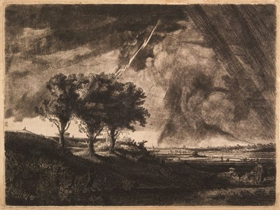 Lot 370-Baillie (Captain William, 1723-1810). The Three Trees after Rembrandt, 1758