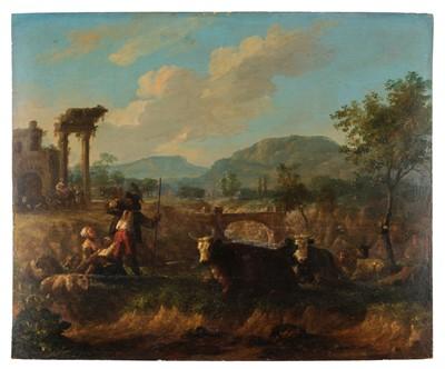 Lot 344-Dutch School. Italianate Landscape, circa 1700