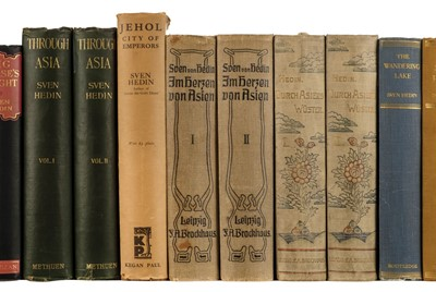 Lot 27-Hedin (Sven). Through Asia, 1st edition in English, 1898, & 24 other Hedin titles