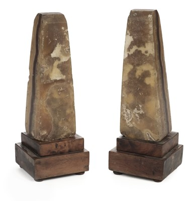 Lot 17-Grand Tour. A pair of late 18th century alabaster obelisks