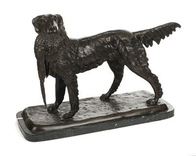 Lot 9-Bronze Sculpture. A modern bronze setter and pheasant