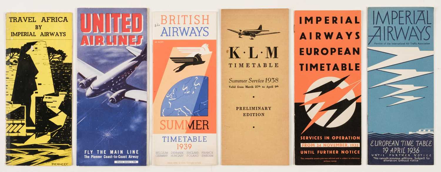 Lot 39 - Civil Aviation. Imperial Airways and other airline timetables and ephemera c.1930s