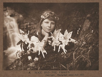 Lot 39-Cottingley Fairies. 4 vintage sepia gelatin silver print photographs, printed by Harold Snelling