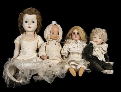Lot 483 - Dolls. A bisque head doll, French, early 20th century, & 3 others