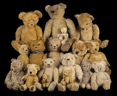 Lot 486 - Teddy Bears. A Terrys-type teddy bear, English, 1920s/30s, & others