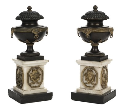 Lot 11-Candle Vases. A pair of Regency bronze and marble urns