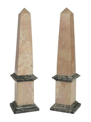 Lot 27-Obelisks. A pair of modern marble obelisks