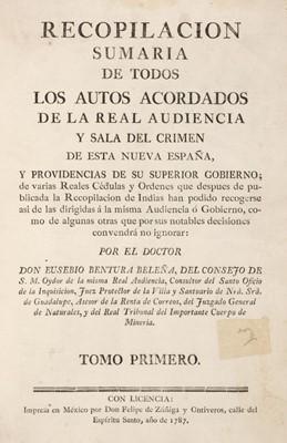 Lot 75 - Bentura Beleña (Eusebio). Recopilacion Sumaria de todos los Autos Acordados, 1787