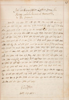 Lot 375 - Wallis (John). A Collection of letters intercepted in Cipher during the late warres in England, 1653