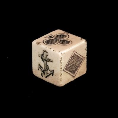 Lot 12-Dice. A large sailors scrimshaw ivory dice c.1800