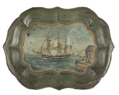 Lot 1-American Toleware. A rare toleware tray, Belisarius, Salem Bay