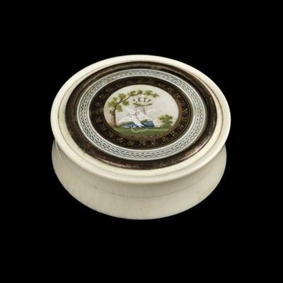 Lot 28-Patch Box. A George III period ivory, tortoiseshell and enamel patch box