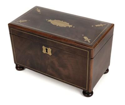 Lot 37-Tea Caddy. A 19th century brass inlaid tea caddy