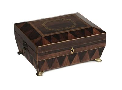 Lot 21-Jewellery Box. A fine Regency parquetry box