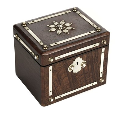Lot 39-Tea Caddy. A Victorian rosewood and ivory tea caddy