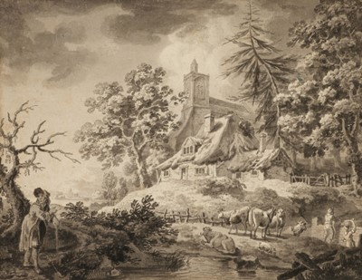 Lot 360-Grimm (Samuel Hieronymus, 1733-1794). Cows and Figures in a Landscape, circa 1780s