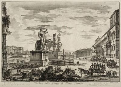 Lot 397-Piranesi (Giovanni Battista, 1720-1778). Veduta della Piazza di Monte Cavallo, 1750